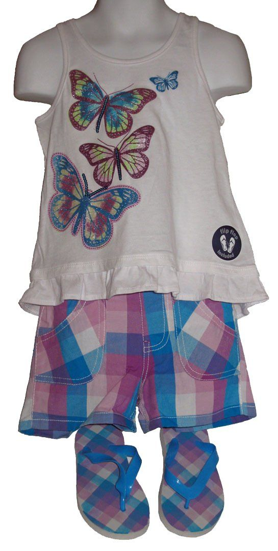 FADED GLORY GIRLS 3-PC SET BOW BACK TANK w CHECK SHORTS & FLIPFLOPS SIZE 4. SHORTS SLIP-ON STYLE. PVC SANDALS GRAPHICS MATCH THE SHORTS AND TEE. fLIP fLOPS HAS #8 ON BOTTOM. MATERIAL: SHORTS 100% COTTON TANK 60%COTTON/40% POLYESTER.