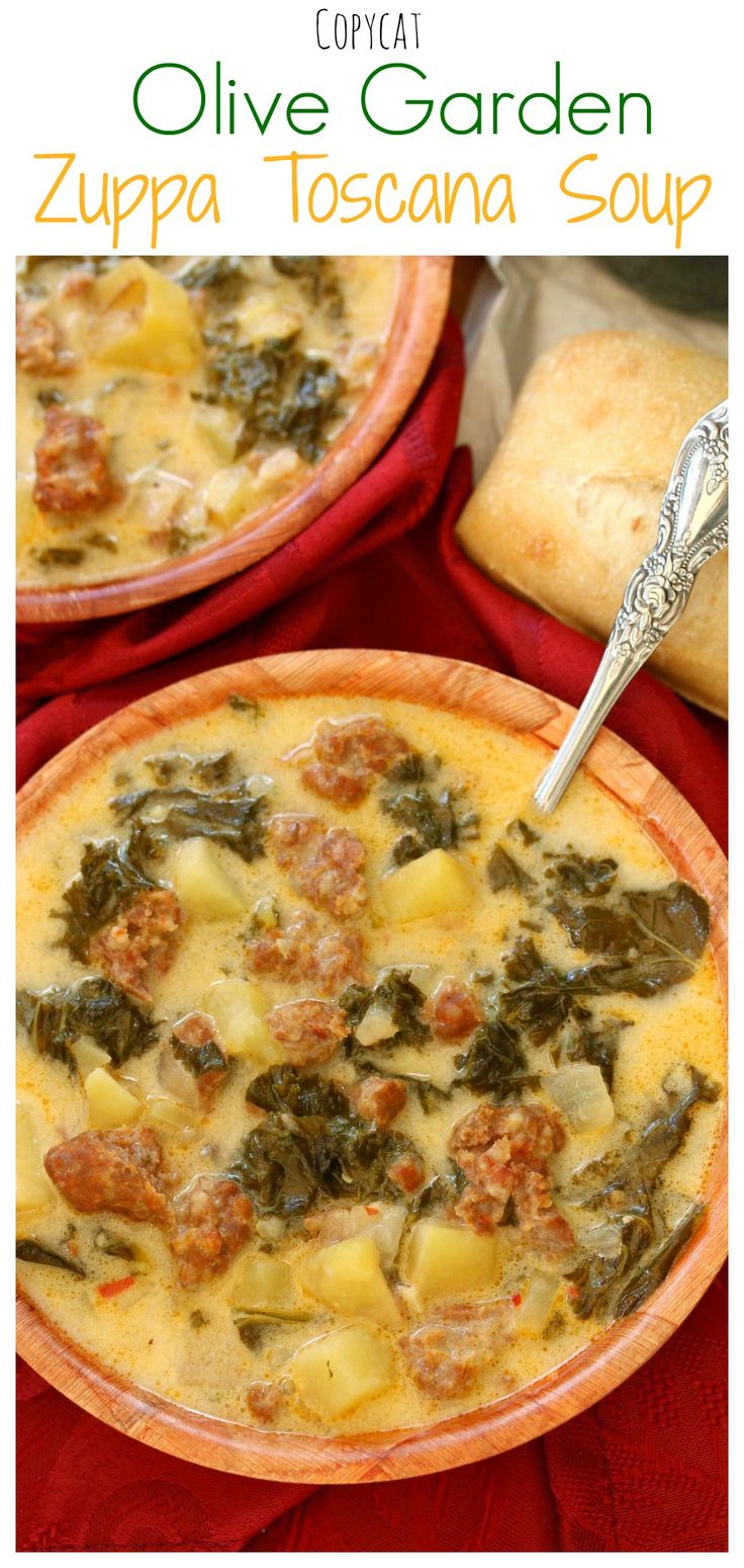This creamy soup is loaded with sausage, kale, and potatoes, and is JUST like the restaurant version! #Copycat