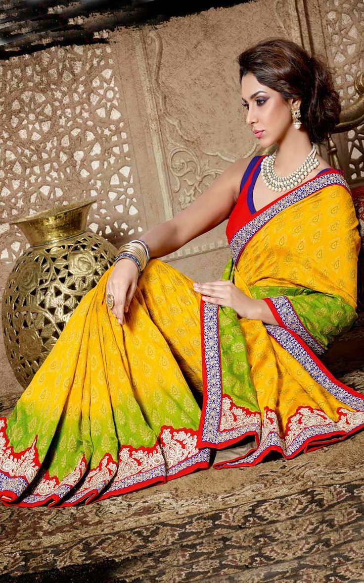 YELLOW, GREEN & RED COTTON EMBROIDERED SAREE - DIFF 28336