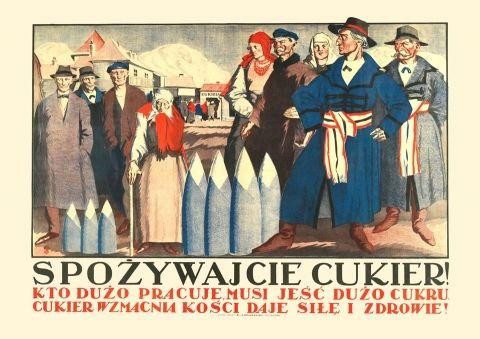 Spożywajcie cukier - przedwojenny.pl Przedwojenny polski plakat z czasów II RP