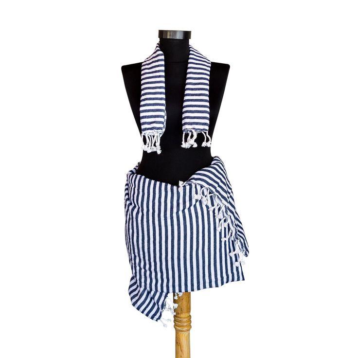 Venice Peshtemal Towel Set - Navy Blue