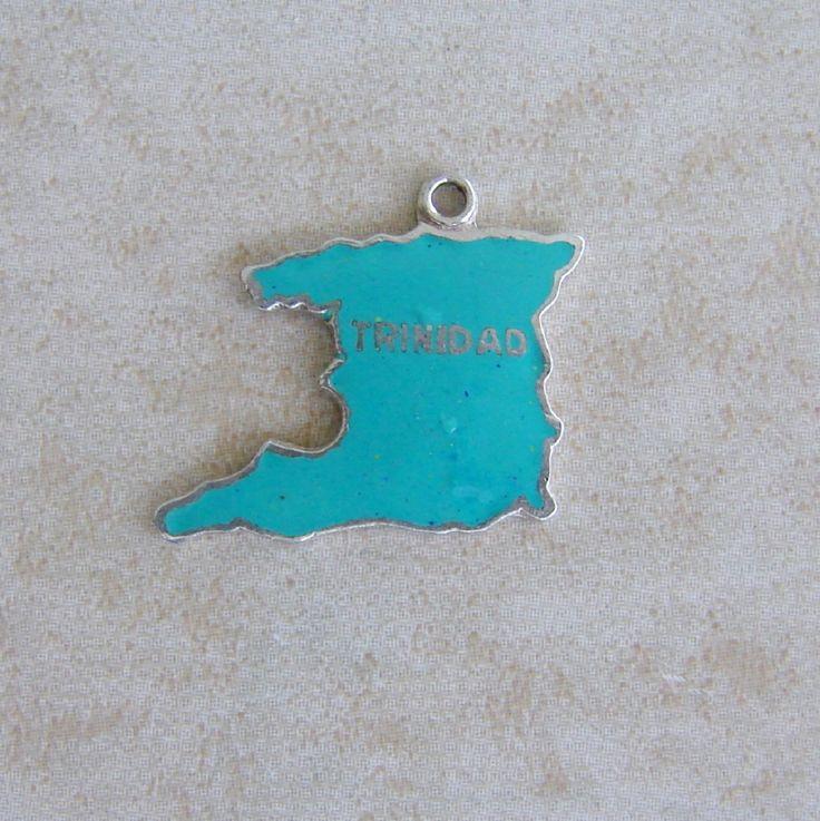 Trinidad Island Auqa Enamel Map Travel Charm Caribbean by Charmcrazey on Etsy