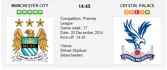 Manchester City is pretty strong playing at home. Crystal Palace, the club will need to work harder in the upcoming match. Manchester City vs. Crystal Palace Match Date: 20 December 2014 (local time) Match Venue: Etihad Stadium (Manchester)