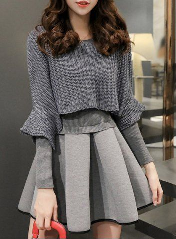 Stylish Jewel Neck Long Sleeve Knitting Spliced Dress and Sweater Twinset For Women