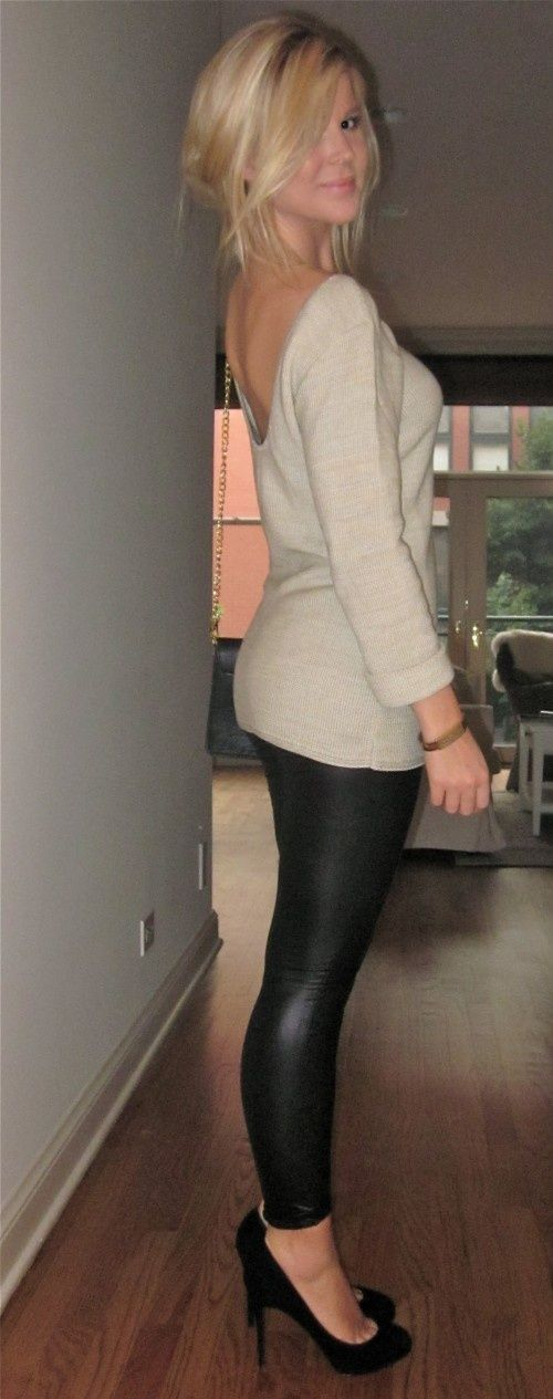 LOVE this. Leather leggings, soft cream sweater, great pumps
