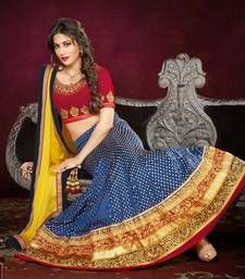Buy Blue , Red & Yellow Lehenga with dupatta Online