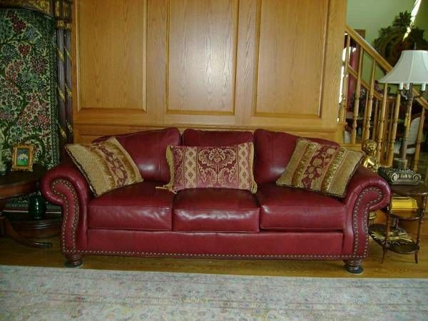 Sofa Slipcovers Leather Couch Onion Creek Burgundy Rolled Arms Brass nail head
