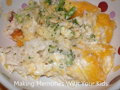 trisha yearwood's chicken broccoli casserole.  sounds cheesy and yummy.  the kids will love this too.