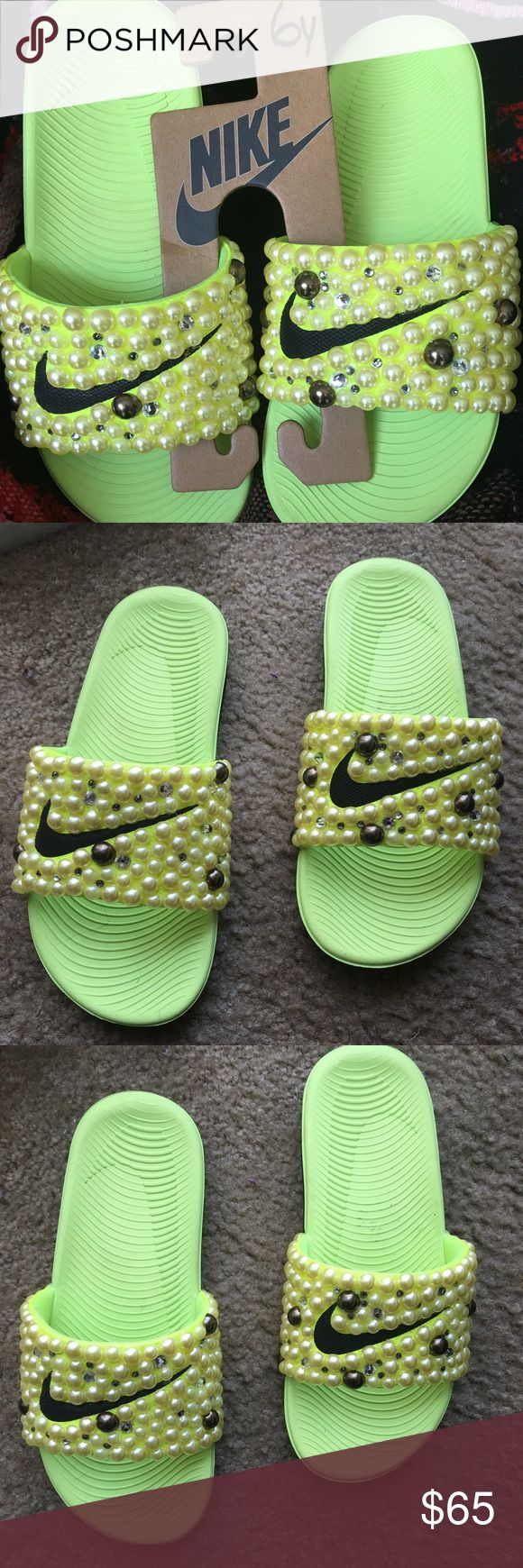 Bee Hive Nike slides Nike slides 2016 custom made with embellished pearl like stones with Swarovski crystals to give them a bling affect. Slides show a little wear. Great summer buy. Comfortable and Classy! Pre~Loved!! Great Buy!! Nike Shoes Sandals