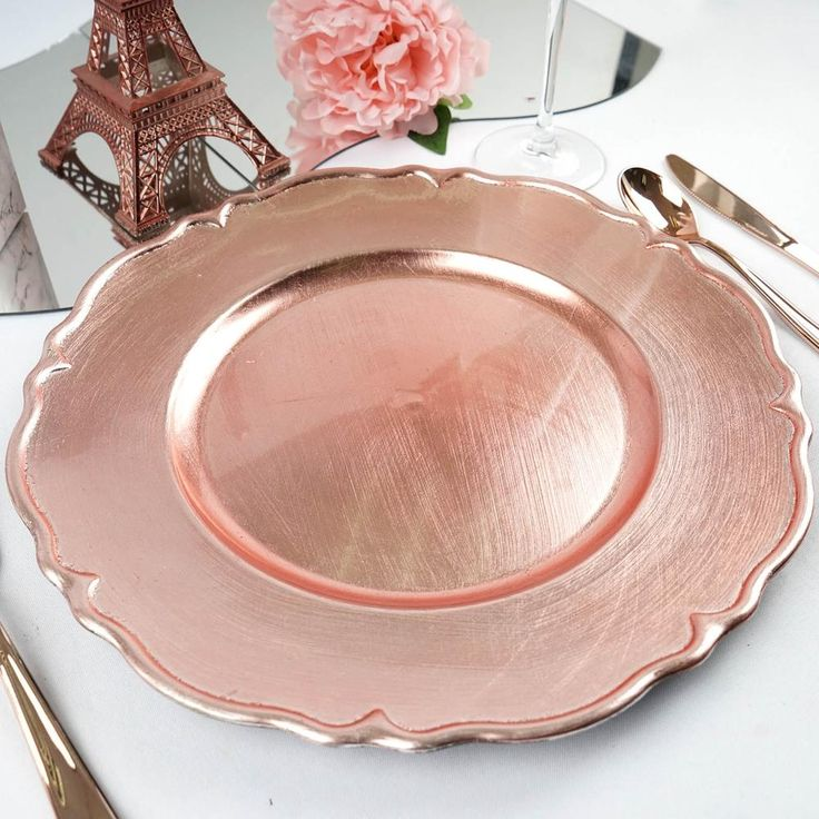 6 Pack 13' Metallic Scalloped Edge Acrylic Plastic Charger Plates- Rose Gold Blush
