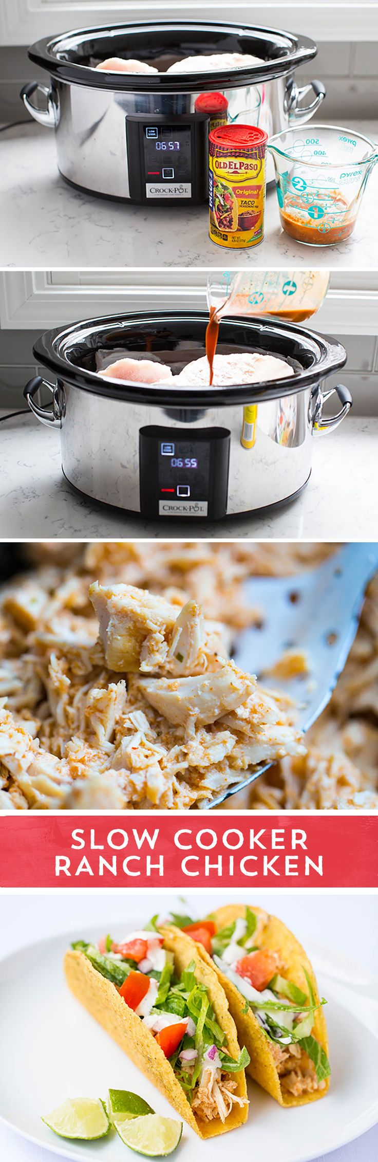 Need enough food to feed a crowd for the big game? Look no further than this Slow Cooker Ranch Chicken from @iheartnaptime to feed your hungry crowd! This chicken is fall-apart tender, packed with zesty spices, and is perfect in Ranch Taco Shells, or a make-your-own-taco-bar for game day!