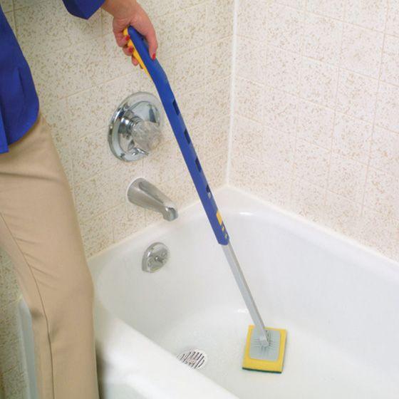 Long Handle Pole Ergonomic Bath Bathroom Bath Tub Tub Cleaning Scrubber  Tool New