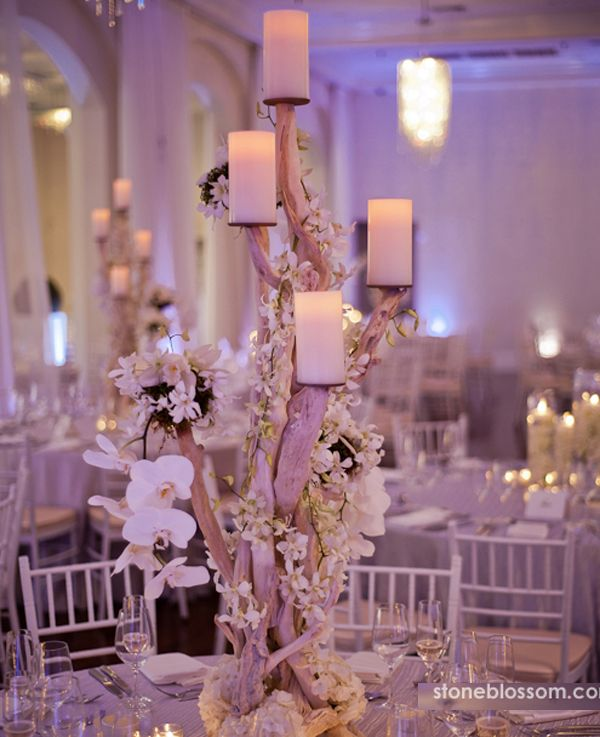 Arreglo floral para bodas decoraci n con rboles y ramas - Decoracion floral para bodas ...