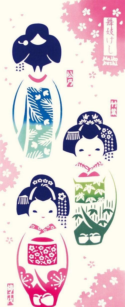 Japanese Tenugui Towel Cotton Fabric, Simple Wooden Doll, Geisha, Kimono, Hand Dyed Fabric, Modern Art Fabric, Home Decor, Table Cloth, k249