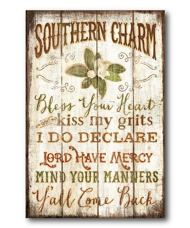 Love this 'Southern Charm' Canvas on #zulily! #zulilyfinds