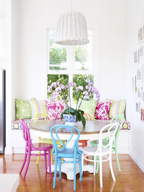 A bright, white home filled with pops of color.