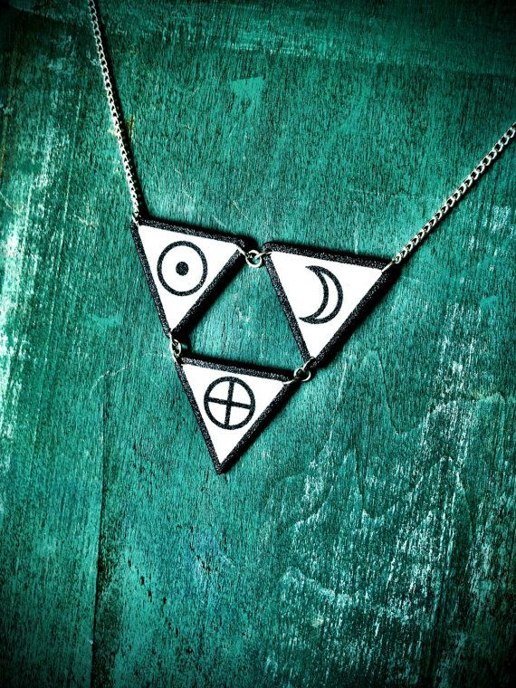 Triangle circle symbol necklace black and white earth sun moon occult pentagram necklace with silver plated chain #pegan #gothic #symbols #typography #etsy