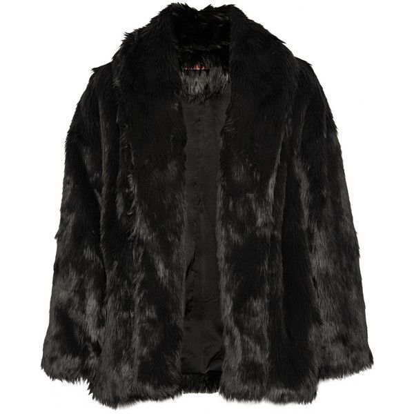 Alice + Olivia Alita faux fur coat (1,395 ILS) ❤ liked on Polyvore featuring outerwear, coats, jackets, coats & jackets, takit, black, imitation fur coats, black fake fur coat, black oversized coat and faux fur coats
