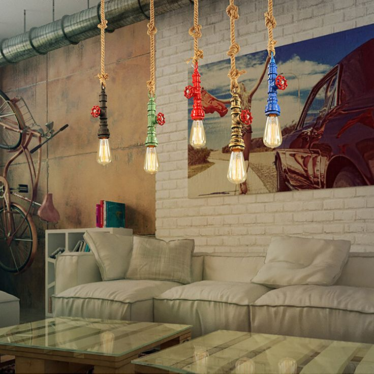 Aliexpress.com : Buy DIY loft retro industrial vintage Steampunk water  Pipe colorful pendant lamp e27 hemp rope light for bar Restaurant dining room from Reliable e27 spot suppliers on Newrays lighting Factory Store