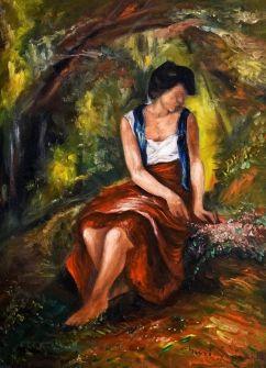 IVÁNYI GRÜNWALD BÉLA (1867-1940) - Lány virágcsokorral