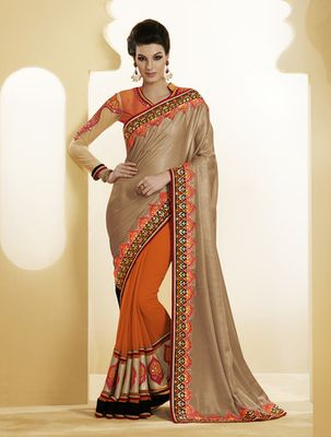 Georgette metallic gold designer saree