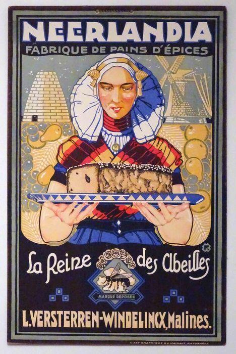 Initial 'F' -'Neerlandia Fabrique de pains d'épices / La reine des abeilles -L. Versterren-Windelincx, Malines' - ca. 1930