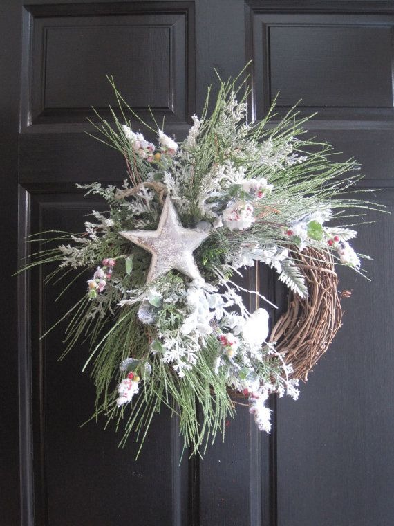 Christmas Wreath Front Door Wreath Silver White by FunFlorals