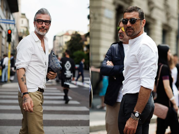 Left: Domenico Gianfrate and his well photographed clutch from Pitti Uomo. Right: as simple and as chic as it gets.