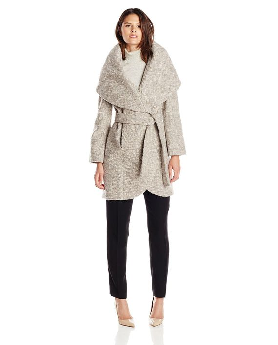 T Tahari Women's Marla Tweed Wool-Blend Wrap Coat