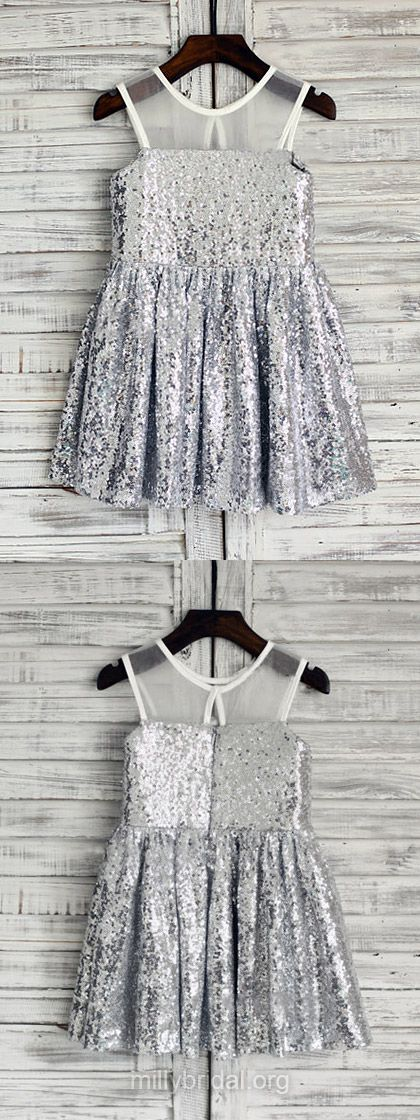 Sparkly Flower Girl Dresses A-line, Silver Flower Girl Dresses Sequined with Ruffles, Cute Flower Girl Dresses Scoop Neck
