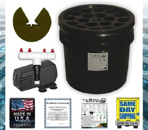 """18 Site Aeroponic Plant Cloner - Clone Bucket 18 Black Edition From Clonebucket.com by Clone Bucket. $62.99. Four (4) 360 Degree Sprayers. ECO PLUS Filtered 185 GPH Pump (built in pre-filter to keep sprayers free from debris). 3.5 Gallon Black Clone Bucket (controls algae growth within the machine). Twelve (12) 2"""" Neoprene Inserts (NO net pots are required. Inserts are reusable). Black Lid (controls algae growth within the machine). CloneBucket.com since 2005. Roots appe..."""