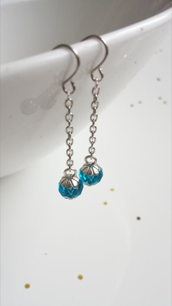 Blue Crystal Dangle Earrings Wedding Bridesmaids by ViewofBeauty