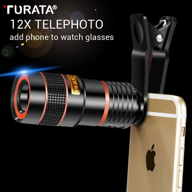 Turata Universal 12x 8x Optical Zoom Mobile Phone Telescope Lens