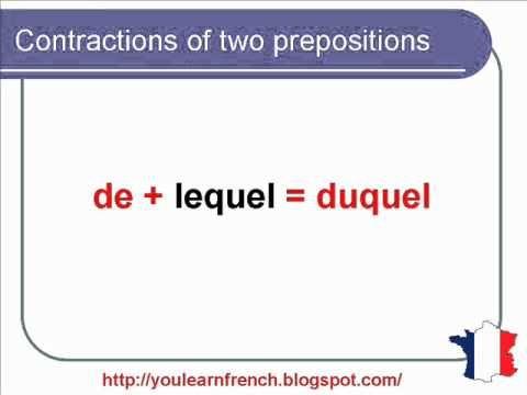 French Lesson 140 - Contraction of prepositions A and DE - definite articles - AU DU AUQUEL DUQUEL - YouTube