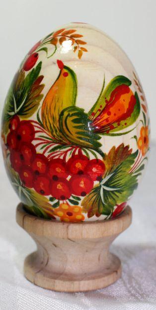 Pysanka done in petrykivka style, Ukraine, from Iryna