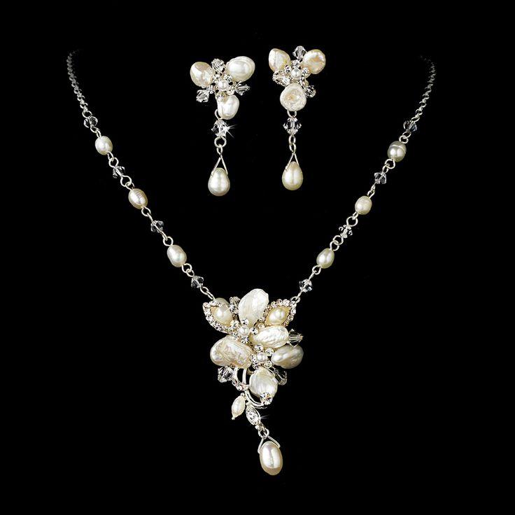 Keshi Pearl Silver Plated Bridal Jewelry Set - beautiful! - Affordable Elegance Bridal -
