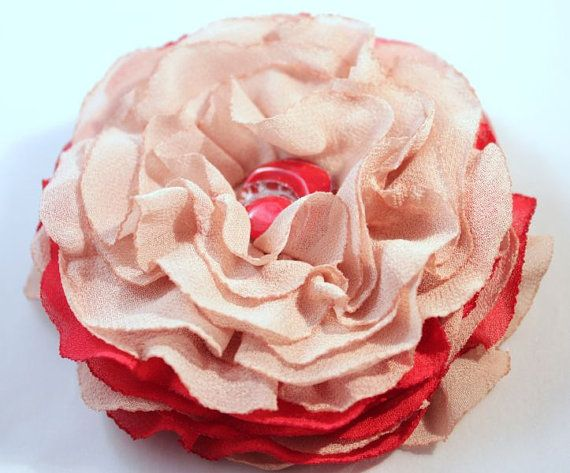 Flower brooch beige red veil brooch soft brooch by CrystalHandmade, $14.00
