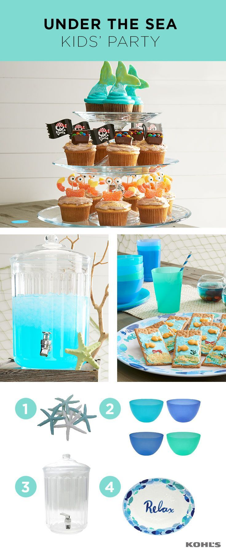 Ahoy, pirates and mermaids! The next big thing for kids' parties is here and we argh loving it. Throw an under-the-sea-themed party for your little one's next celebration with an ocean-inspired color scheme, beachy (and non-breakable kid-friendly) accessories and lots of yummy seawater (don't tell, but it's just blue punch). Celebrate summer with Kohl's.