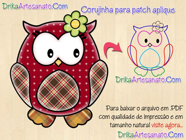 Patchwork moldes para patch aplique: Corujas
