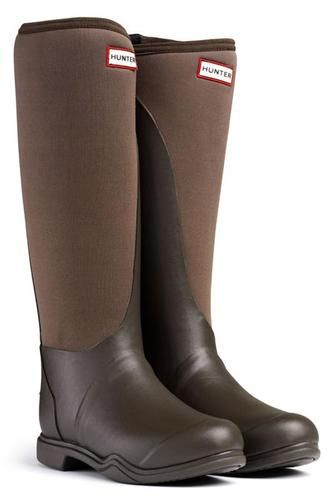HUNTER BALMORAL NEOPRENE BROWN WELLINGTON BOOTS