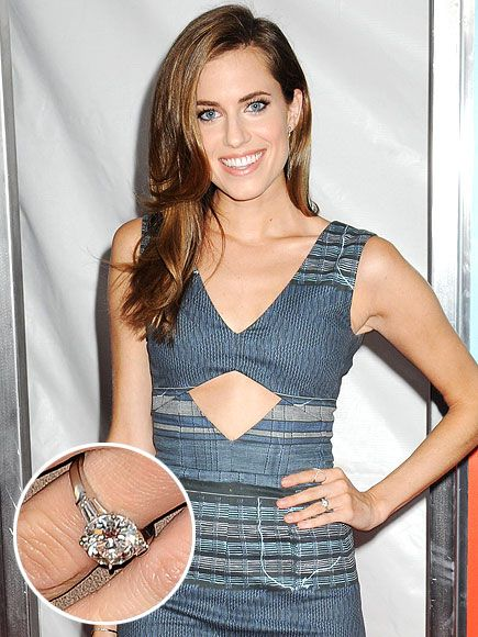 The Most Unbelievable Engagement Rings of 2014 | ALLISON WILLIAMS & RICKY VAN VEEN | If you guessed the Girls star would want something simple and classic for her proposal from the CollegeHumor.com founder, you guessed right. The star showed off her sizable round-cut, platinum-set stone at Vanity Fair's Oscars party – and it was only a matter of time before Girls co-star Lena Dunham was threatening to hide it.