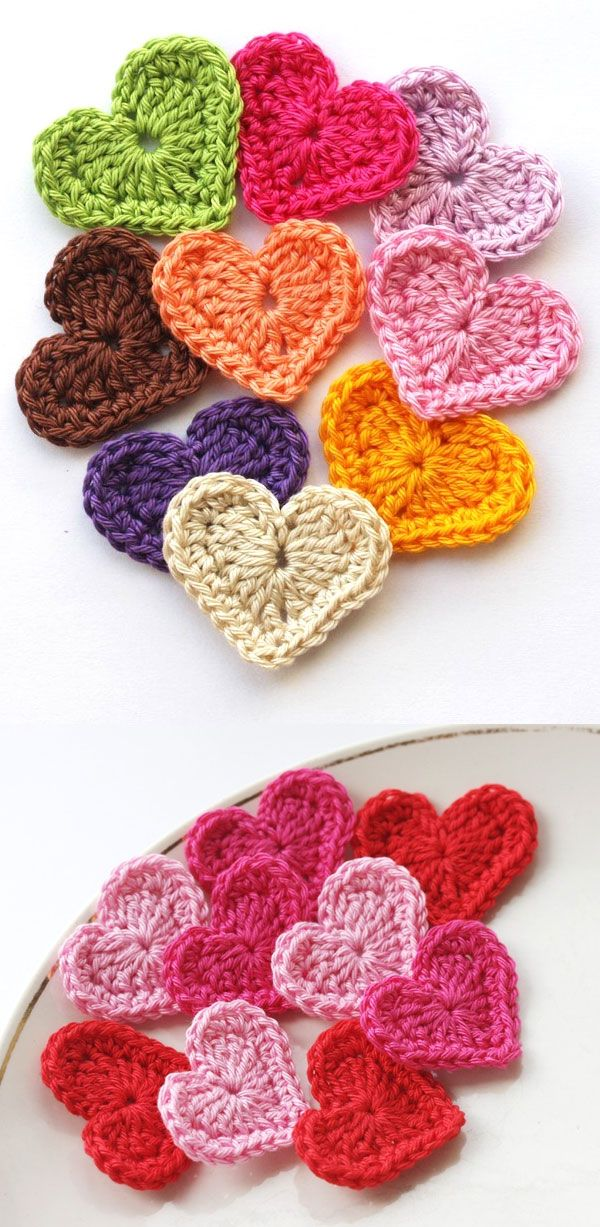 DIY Crochet Hearts.