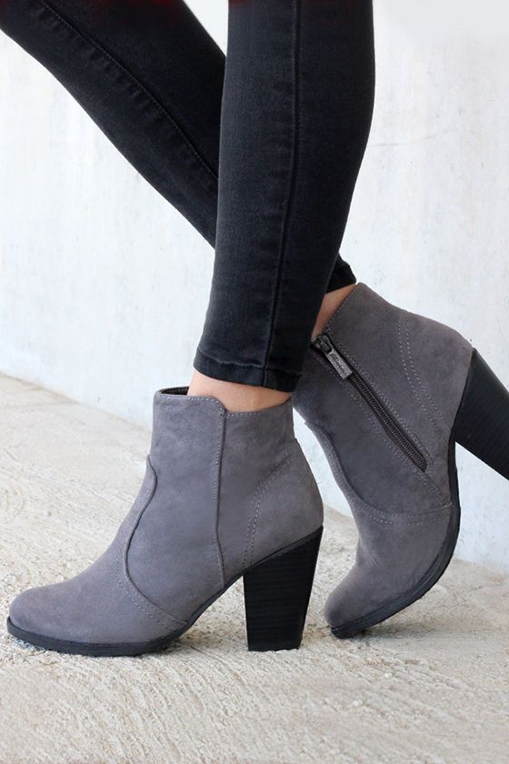 Heydays Grey Suede Ankle Boots at Lulus.com! @realkatturner