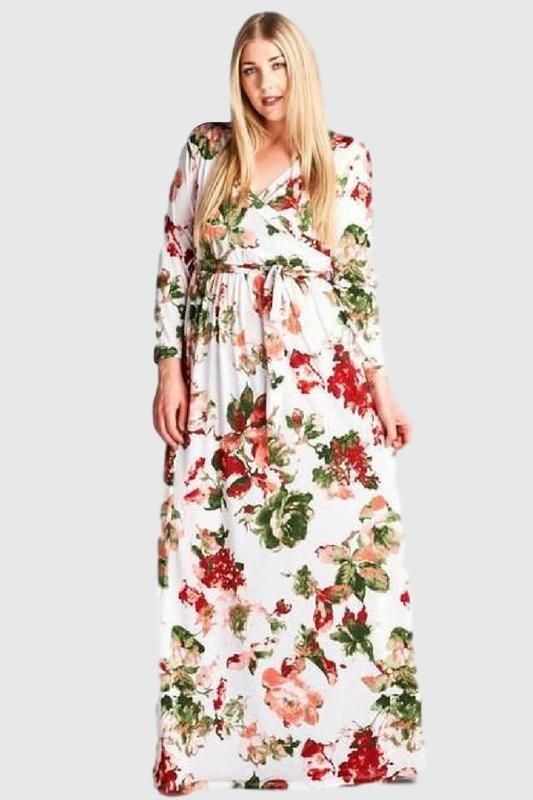 Plus Size Floral Maxi Dress Peach | Plus Size Dresses | Floral maxi ...