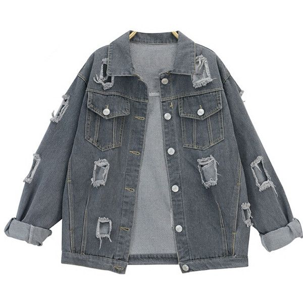 Boyfriend Distressed Denim Jacket ($24) ❤ liked on Polyvore featuring outerwear, jackets, coats, tops, boyfriend jacket, distressed denim jacket and distressed jacket