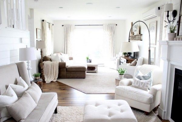 Love the layout of this long living room - separated by rugs and great furniture placement eclecticallyvintage.com