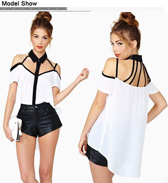Купить товарБесплатная доставка мода новый черный коротким рукавом полосатой без бретелек белого шифона рубашку женщин блузки в категории Блузки и рубашкина AliExpress.                    Добро пожаловать в мой                                          Магазин                 ,
