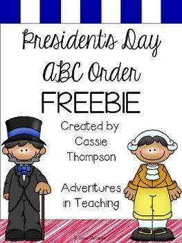 President's Day ABC Order- FREEBIE