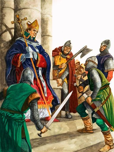 Thomas Becket was slain by four knights in Canterbury, and his tomb very quickly became a hallowed shrine, visited by pilgrims from far and wide, most famously those of Chaucer's Canterbury Tales, but also, only one year after his murder, by King Henry II himself, doing public penance for this heinous crime.