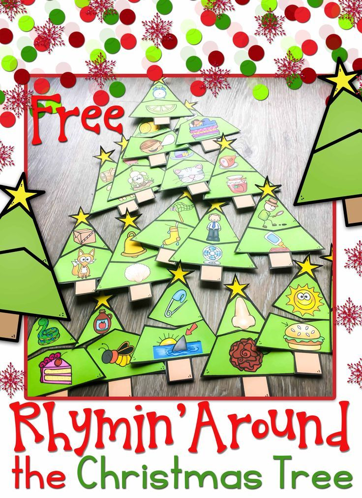 Merry Christmas! Rhymin' around the Christmas tree and enjoying these free rhyming puzzles! Perfect for a phonemic awareness center activity in kindergarten or first grade.